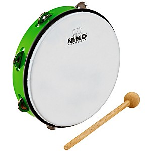 Nino-ABS-Tambourine-w-Single-Row-of-Jingles-Grass-Green-10-Inch