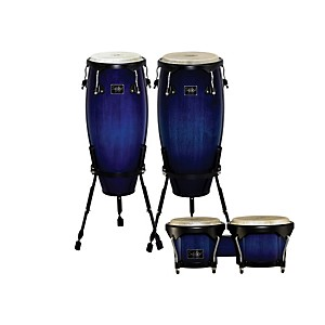 Schalloch-Linea-100-Series-2-Piece-Conga-Set-with-Bongos-Blue-Fade