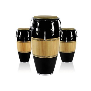 LP-Performer-Series-3-Piece-Conga-Set-with-Chrome-Hardware-Black-Natural