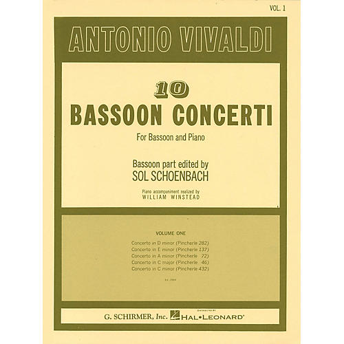 G. Schirmer 10 Bassoon Concerti, Vol. 1 Woodwind Solo Series by Vivaldi Edited by Sol Schoenbach thumbnail