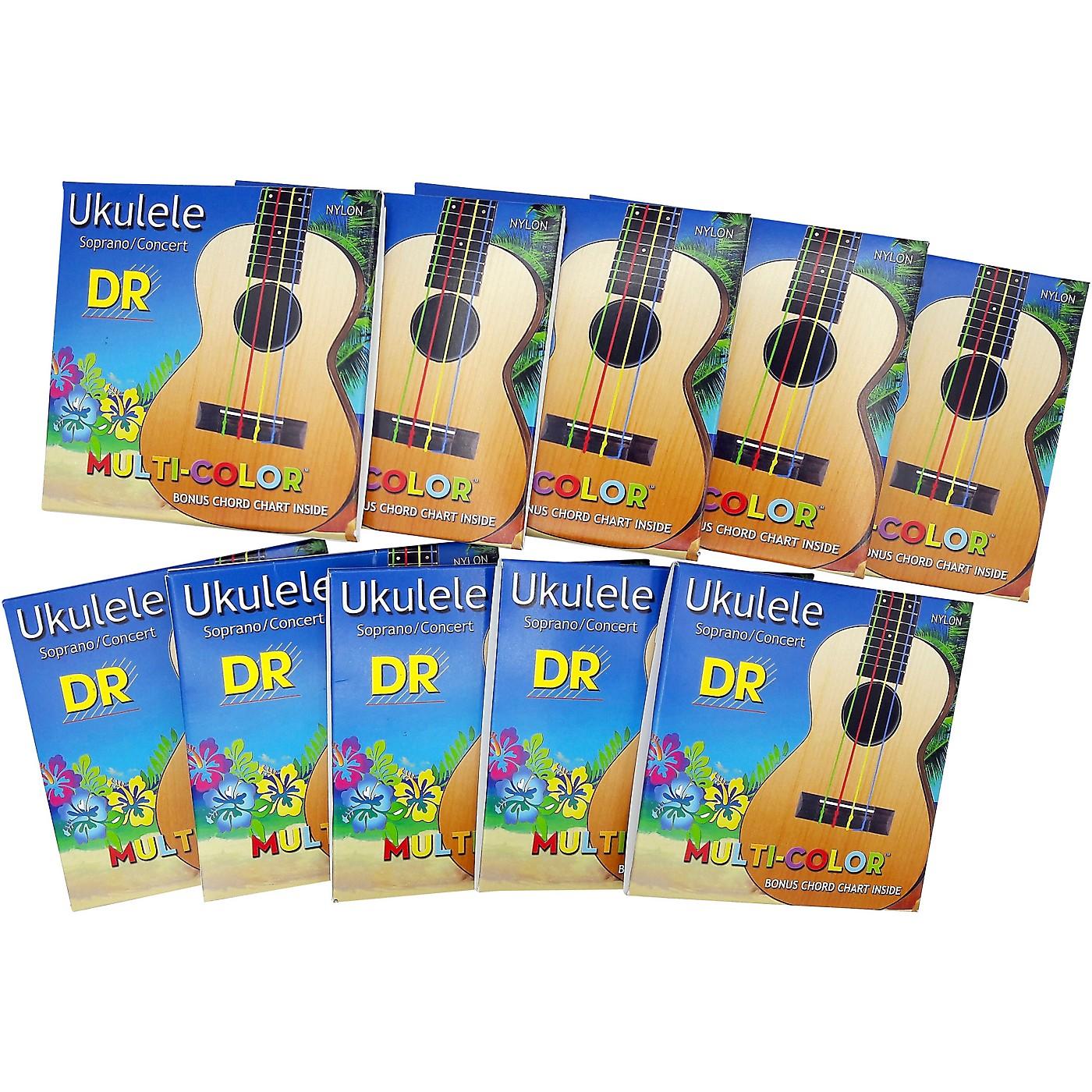 DR Strings 10-Pack Ukulele Multi-Color Soprano Concert Strings thumbnail