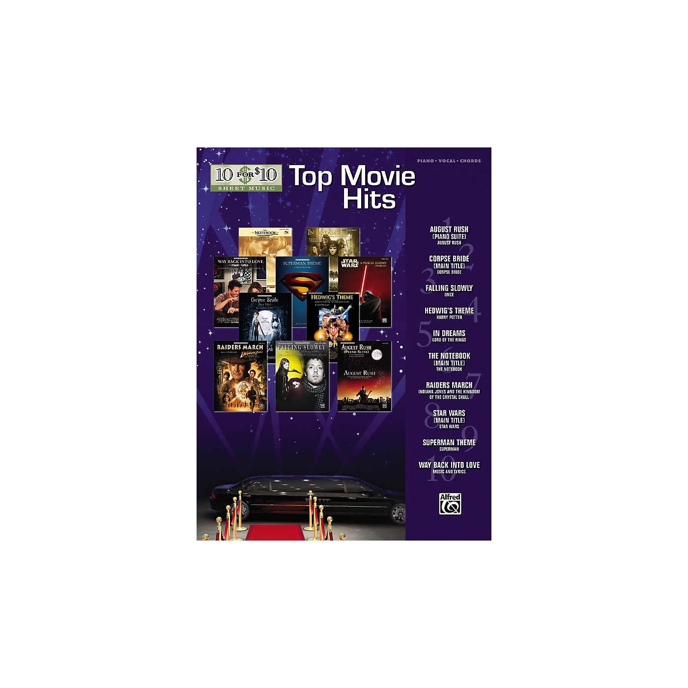 Alfred 10 for 10 Sheet Music Top Movie Hits Piano/Vocal/Chords thumbnail