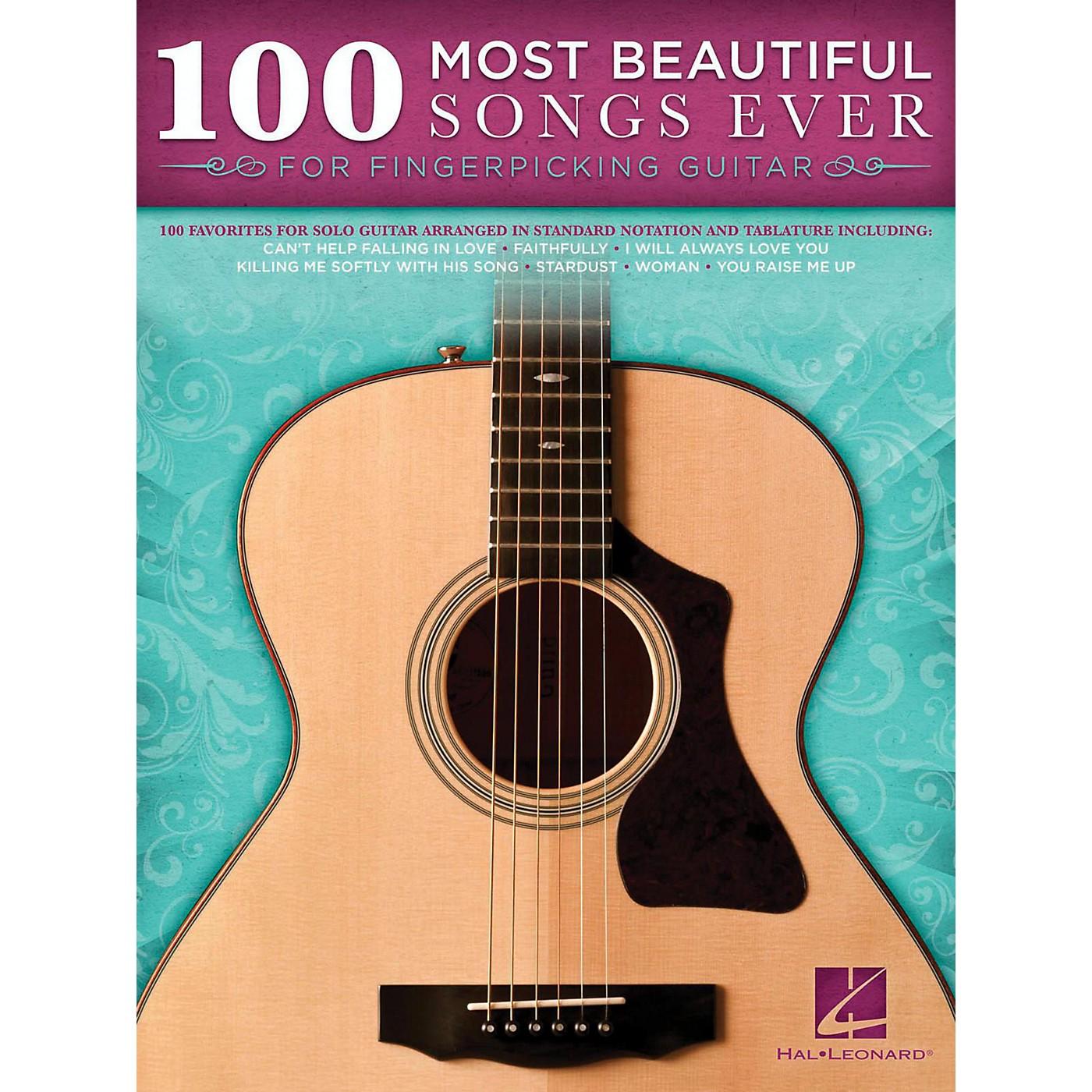 Hal Leonard 100 Most Beautiful Songs Ever For Fingerpicking Guitar thumbnail