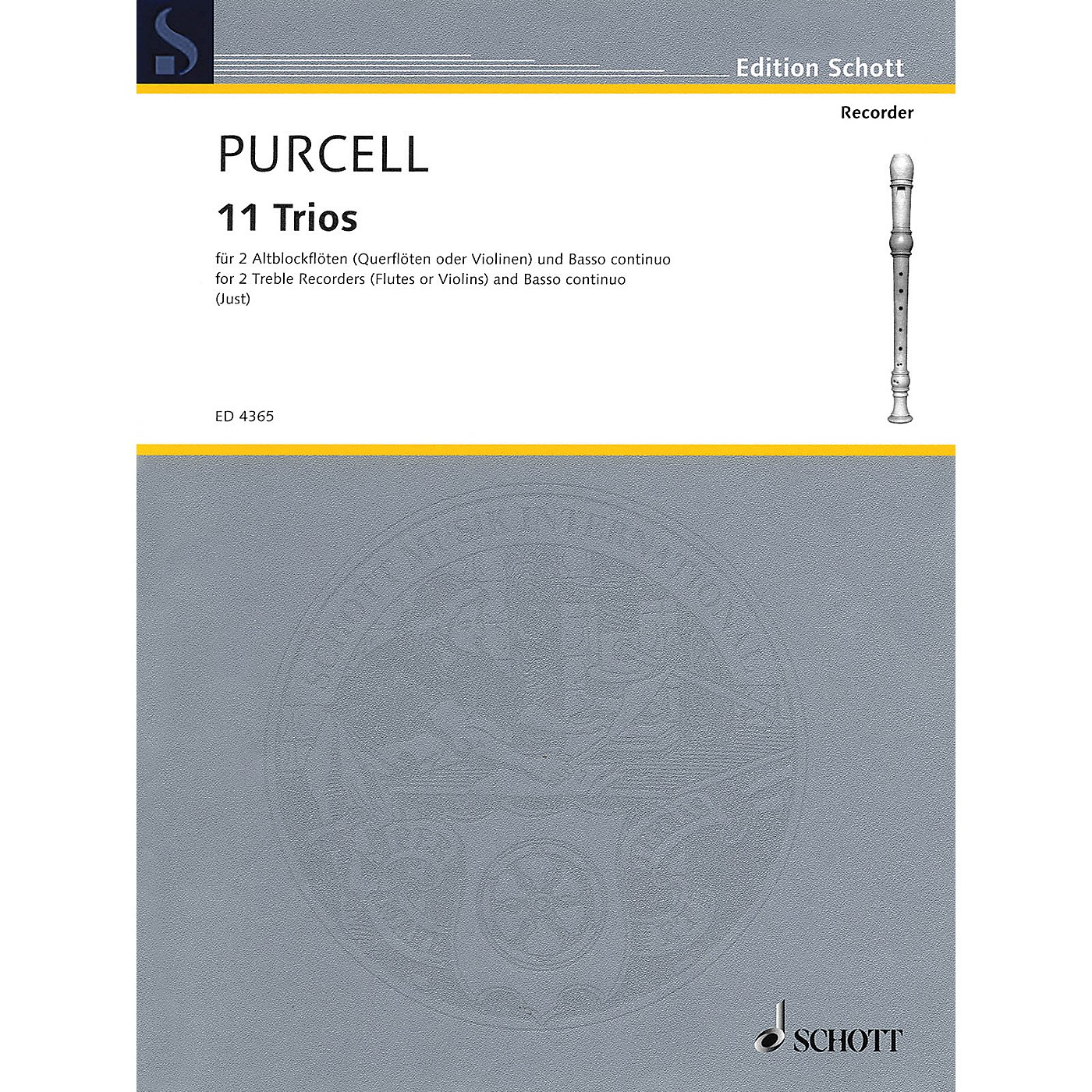 Schott 11 Trios (for 2 Treble Recorders and Basso continuo) Schott Series Softcover  by Henry Purcell thumbnail