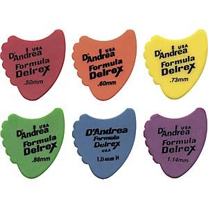 D'Andrea 390 Sharkfin Delrex Delrin Guitar Picks - One Dozen Red .50 mm