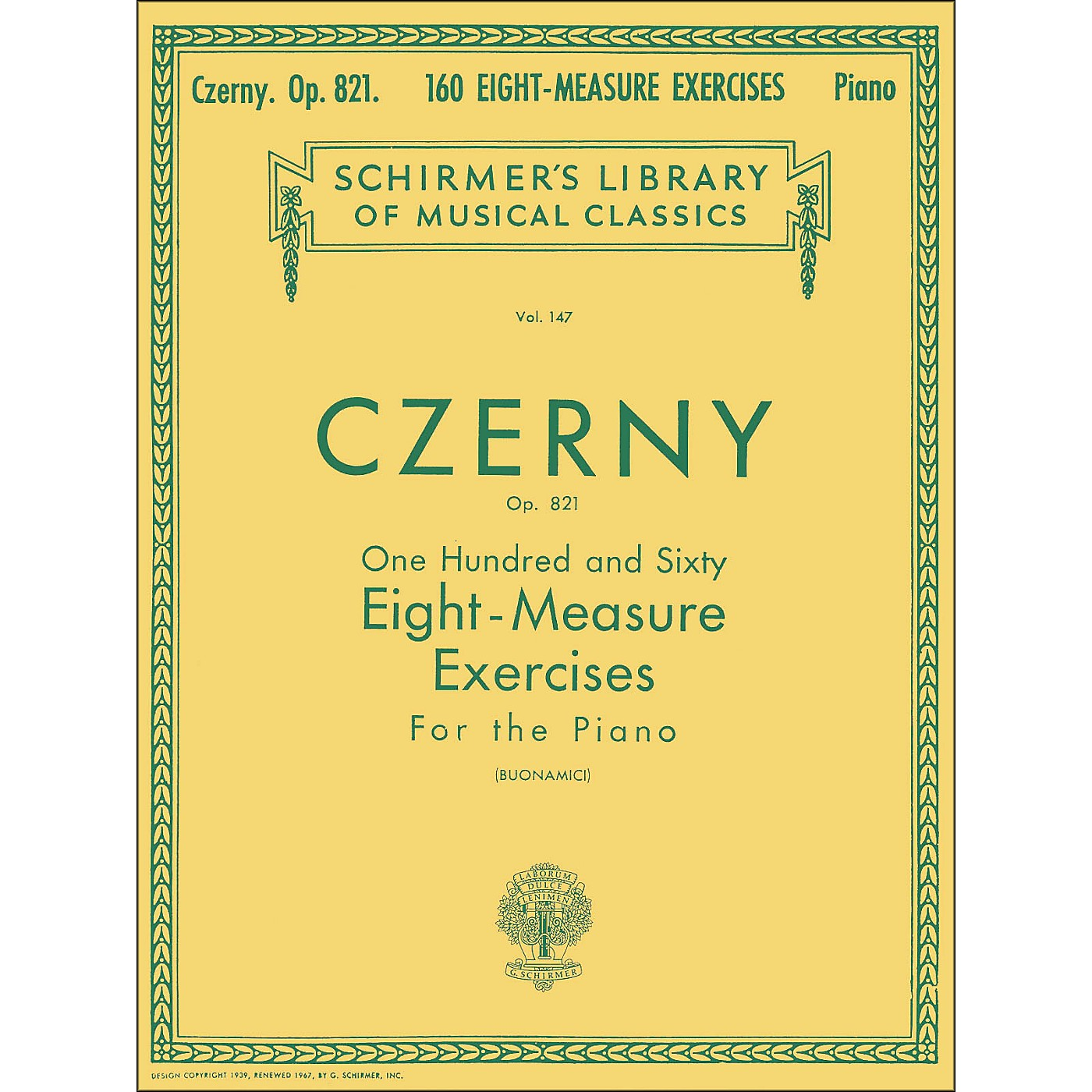 G. Schirmer 160 Eight-Measure Exercises Op 821 Piano By Czerny thumbnail