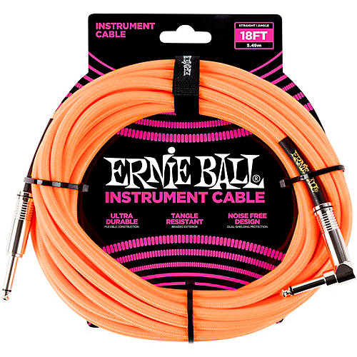 Ernie Ball 18' Straight to Angle Braided Instrument Cable thumbnail