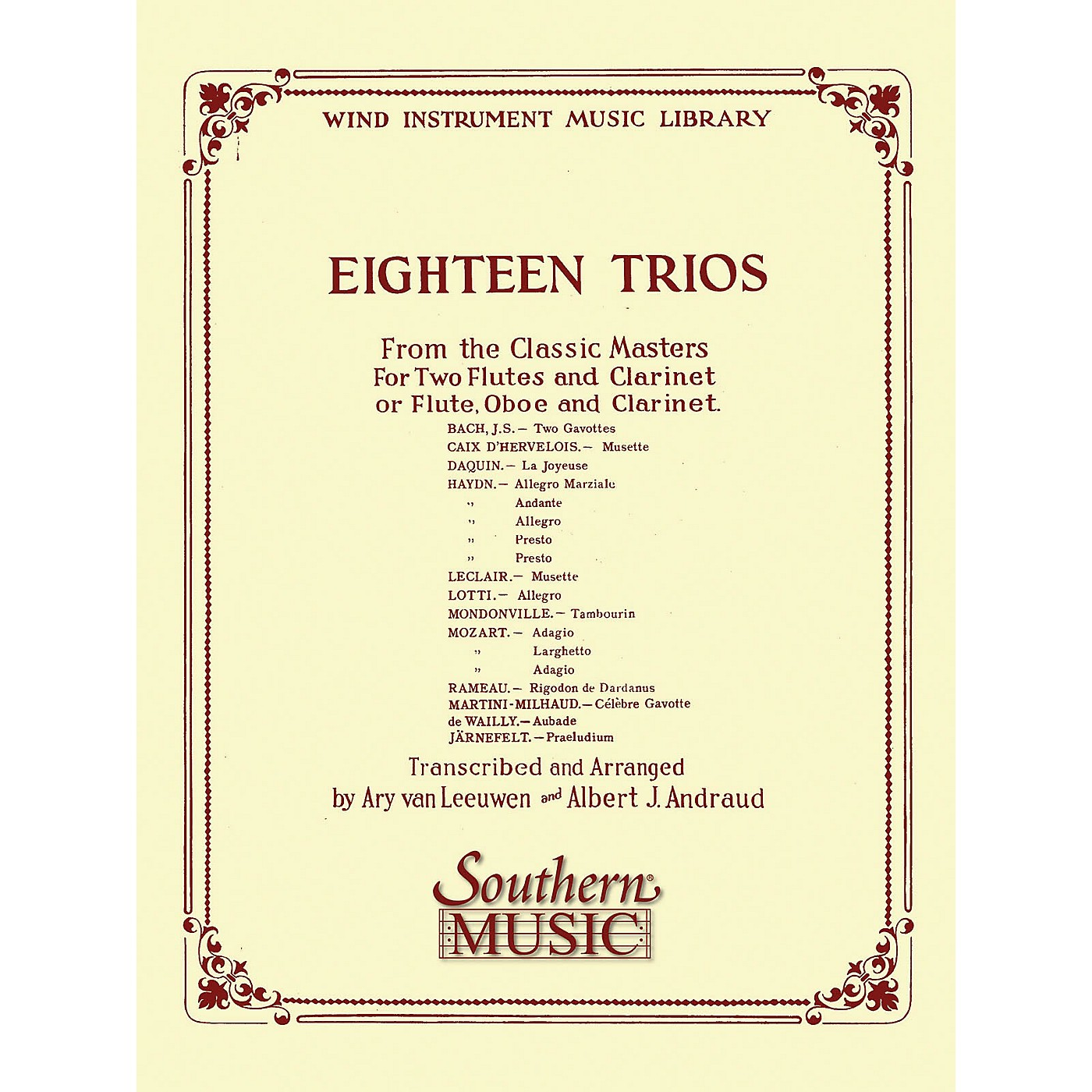 Southern 18 Trios (Complete) from Classic Master (Woodwind Trio) Southern Music Series Arranged by Albert Andraud thumbnail
