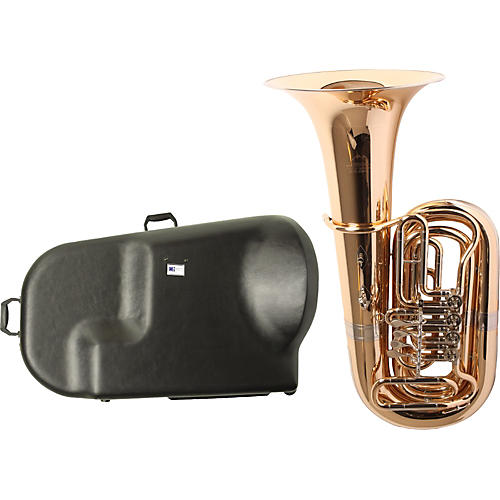 Miraphone 186-4U Series 4-Valve Gold Brass BBb Tuba with Hard Case-thumbnail