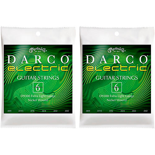 Darco 2 Pack D9300 Nickel Wound 6 Set Electric Guitar Strings-Extra Light Bundle thumbnail