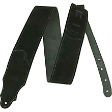 "Franklin Strap 2.5"" Black Suede Guitar Strap with Silver Stitching"