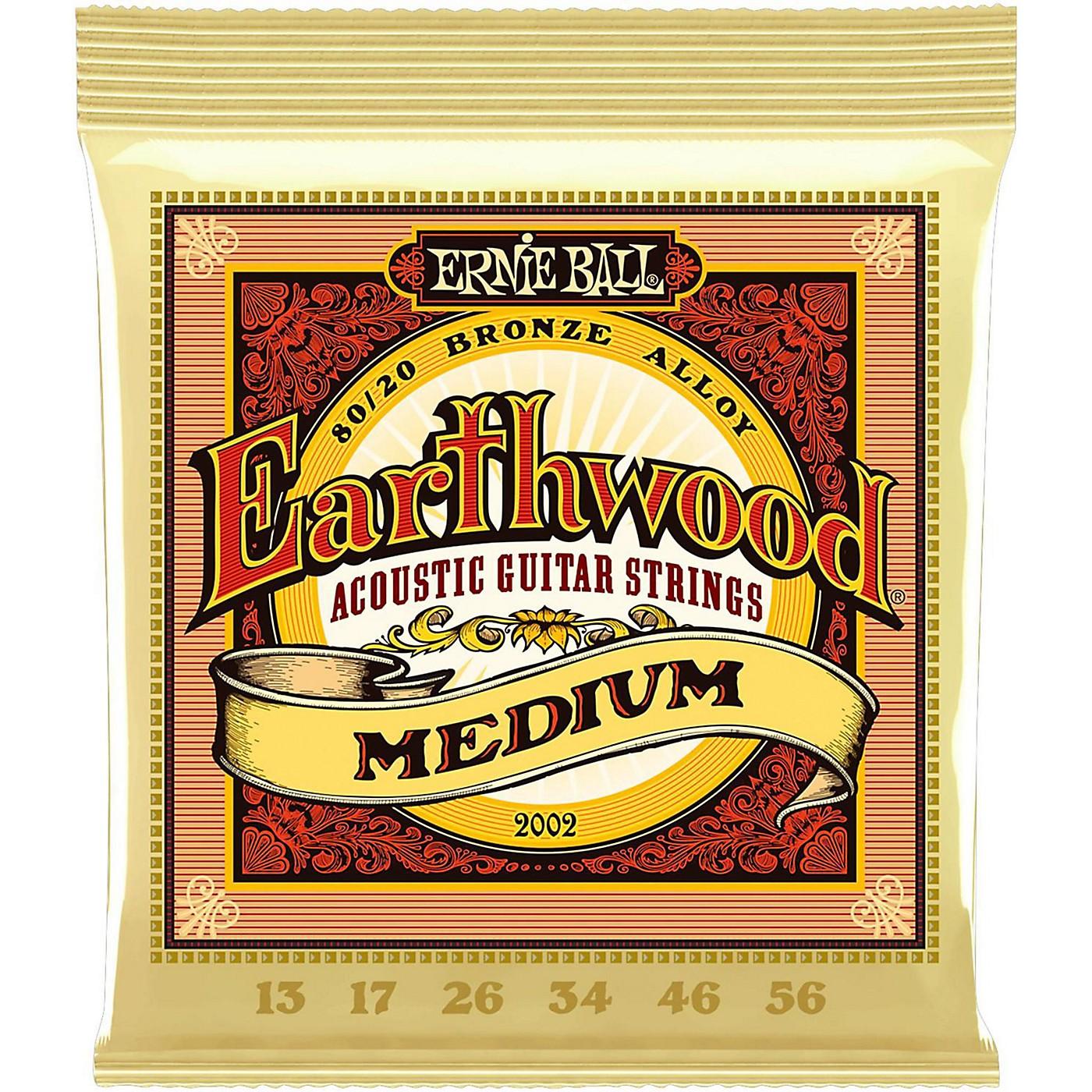 Ernie Ball 2002 Earthwood 80/20 Bronze Medium Acoustic Guitar Strings thumbnail