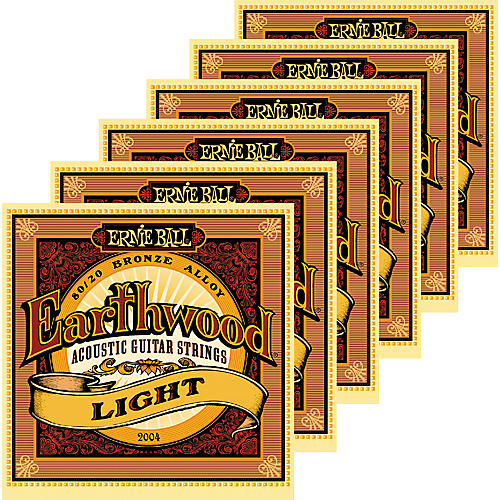 Ernie Ball 2004 Earthwood 80/20 Bronze Light Acoustic Guitar Strings 6 Pack thumbnail
