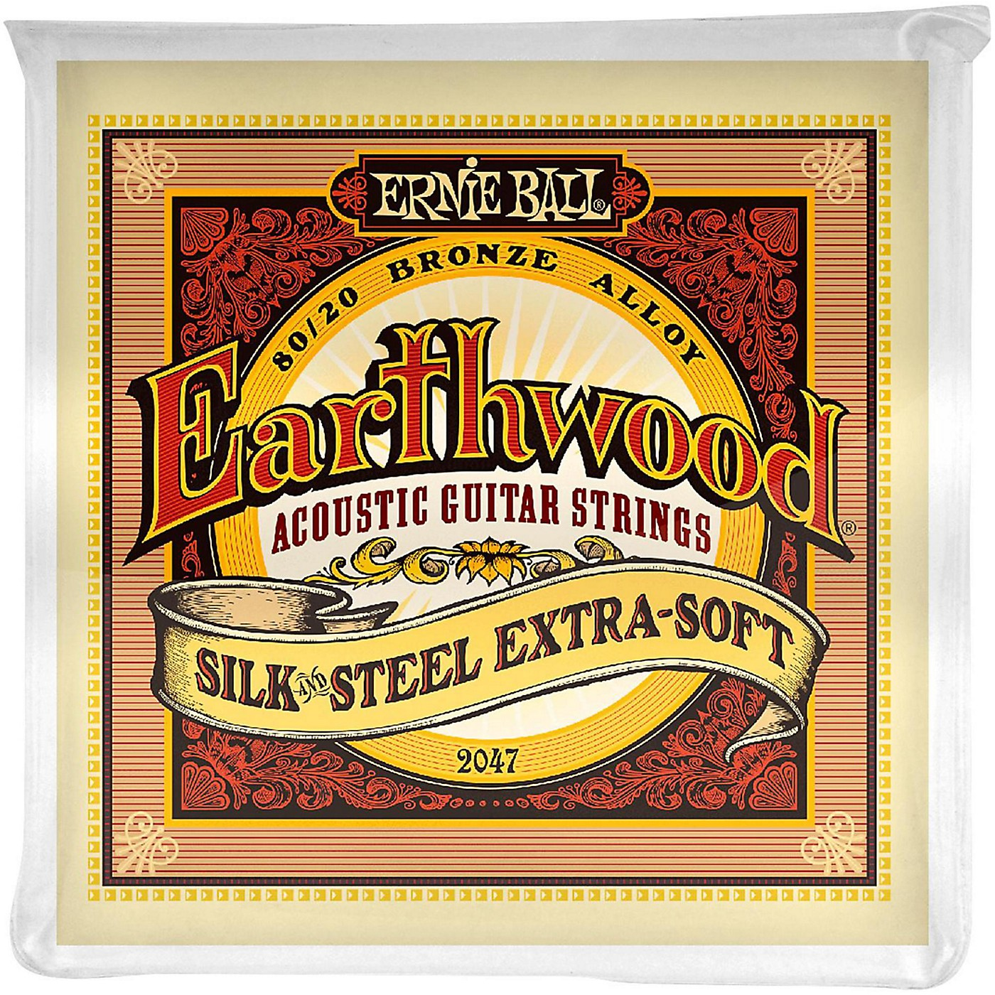 Ernie Ball 2047 Earthwood 80/20 Bronze Silk and Steel Extra Soft Acoustic Guitar Strings thumbnail