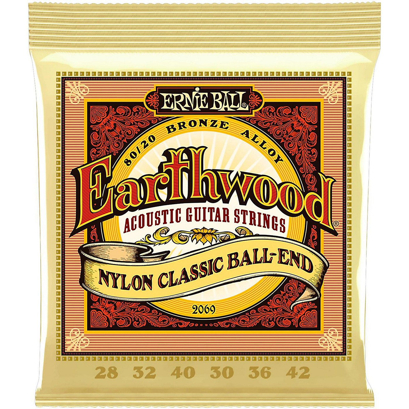 Ernie Ball 2069 Earthwood 80/20 Bronze Folk Nylon Ball End Acoustic Guitar Strings thumbnail