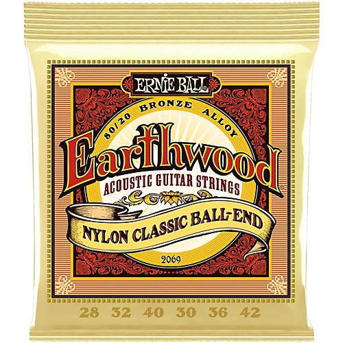 Ernie Ball 2069 Earthwood 80/20 Bronze Folk Nylon Ball End Acoustic Guitar Strings thumbnail