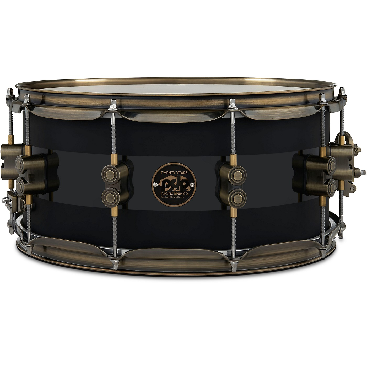 PDP by DW 20th Anniversary Snare Drum, Matte/Gloss Black, Antique Bronze Hardware thumbnail