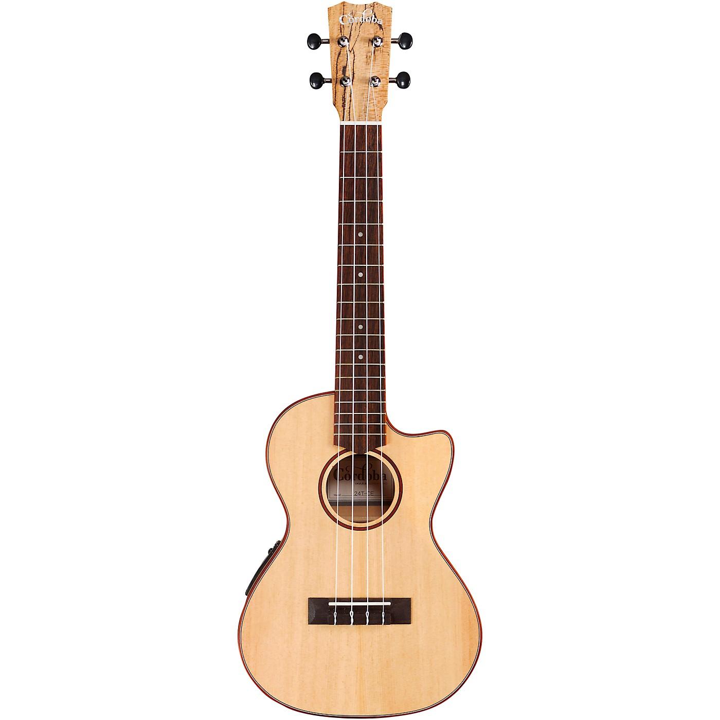 Cordoba 24T-CE Spruce Spalted Maple Cutaway Tenor Acoustic-Electric Ukulele thumbnail