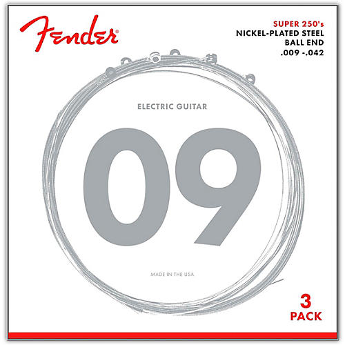 Fender 250L Super 250 Nickel-Plated Steel Electric Guitar Strings 3-Pack thumbnail