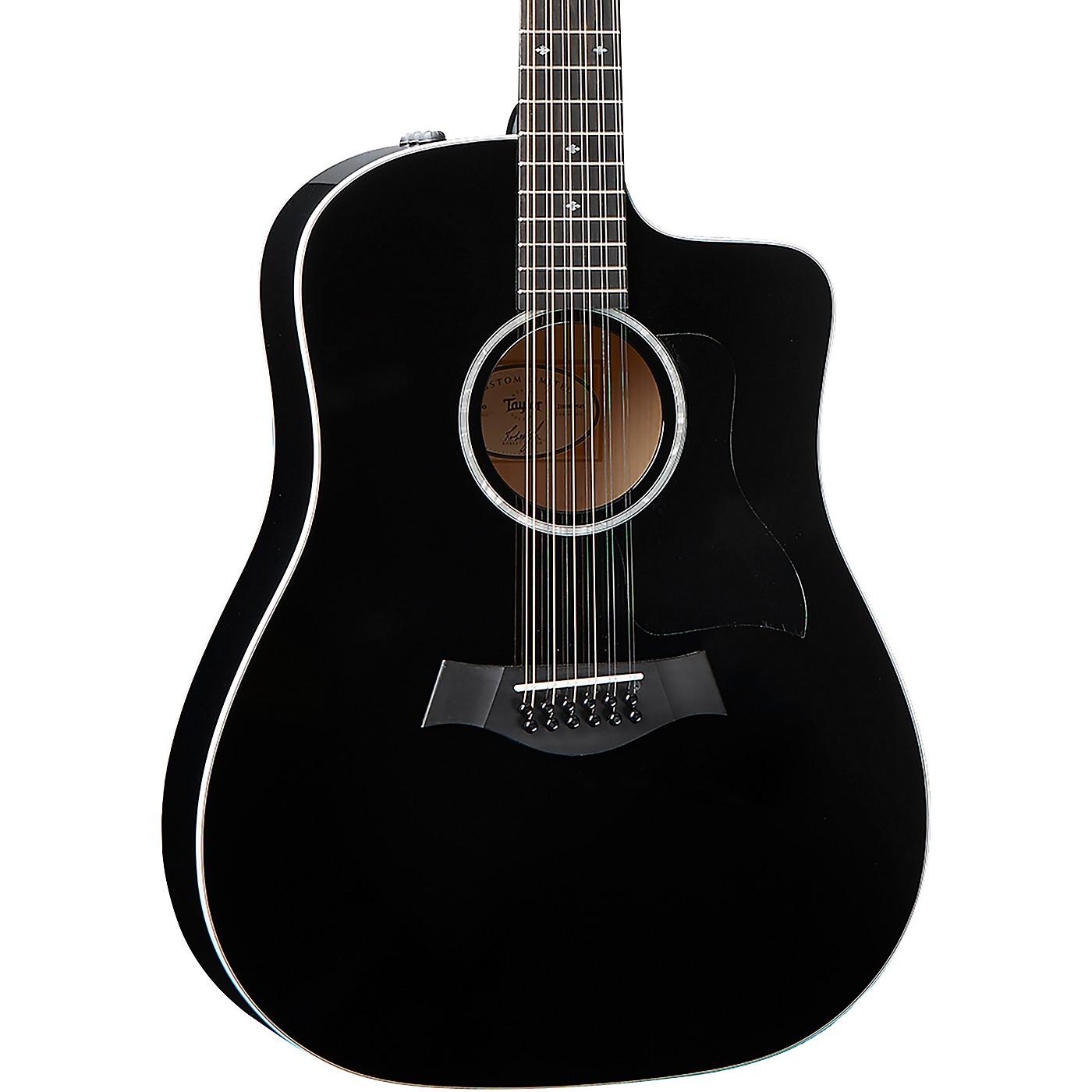 Taylor 250ce-BLK DLX 12-String Dreadnought Acoustic-Electric Guitar thumbnail