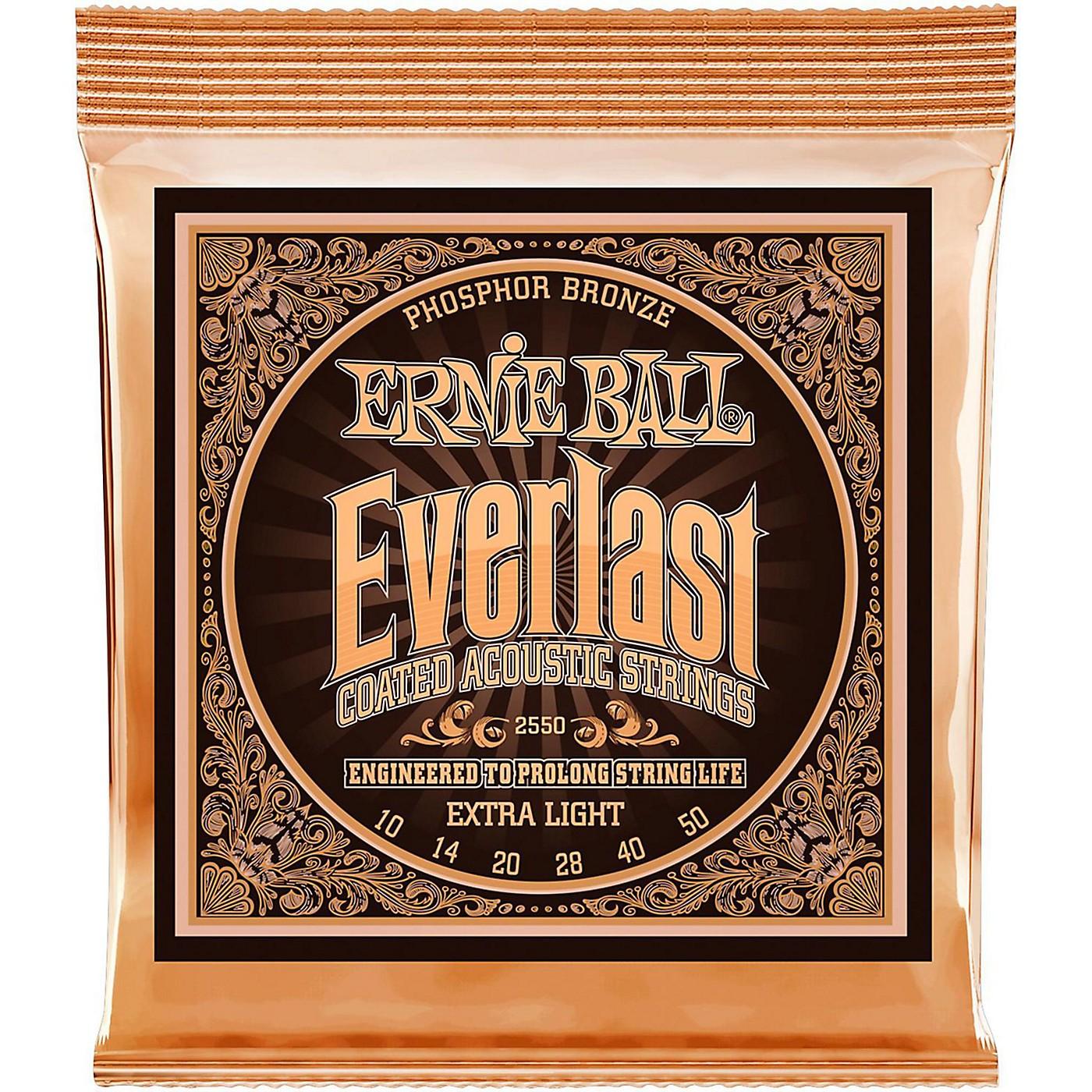Ernie Ball 2550 Everlast Phosphor Extra Light Acoustic Guitar Strings thumbnail