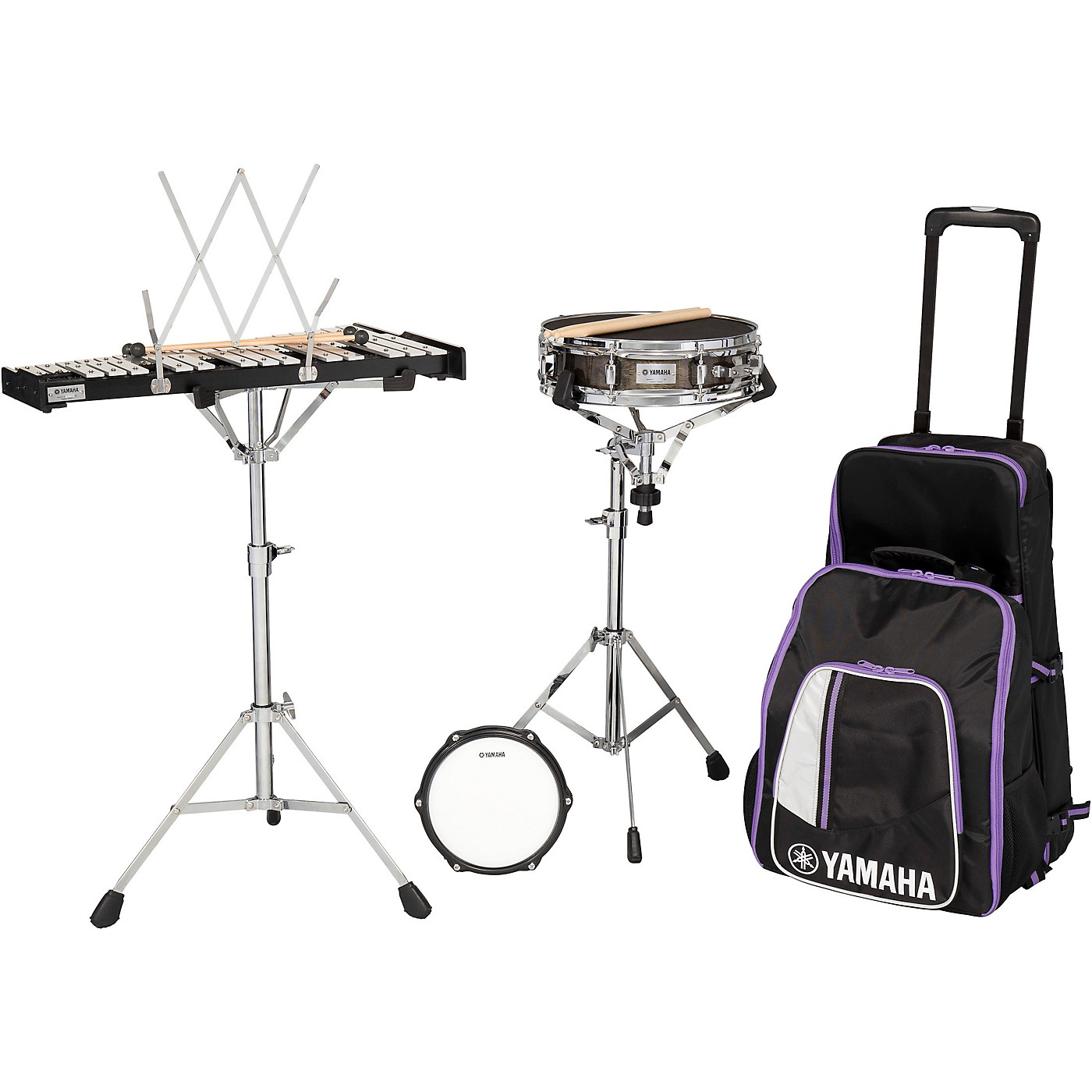 Yamaha 285 Series Mini Snare and Bell Kit with Backpack and Rolling Cart thumbnail