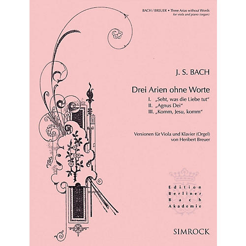 Simrock 3 Arias Without Words (Viola and Piano or Organ) Boosey & Hawkes Chamber Music Series Softcover thumbnail