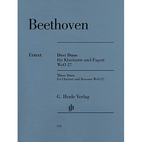 G. Henle Verlag 3 Duos for Clarinet and Bassoon WoO 27 by Ludwig van Beethoven Edited by Egon Voss thumbnail