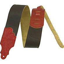 "Franklin Strap 3"" Leather Guitar Strap Black/Red Tooled End"