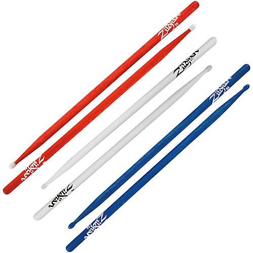 Zildjian 3 Pair 5A Nylon Red White & Blue Value Pack thumbnail