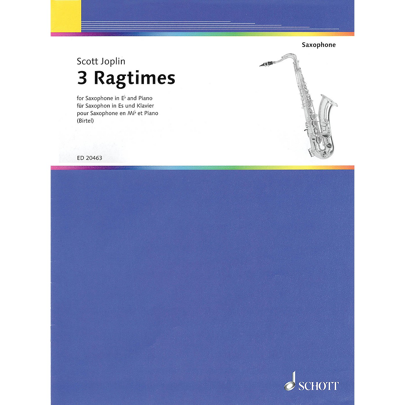 Schott 3 Ragtimes (for E flat Saxophone and Piano) Woodwind Series Softcover thumbnail