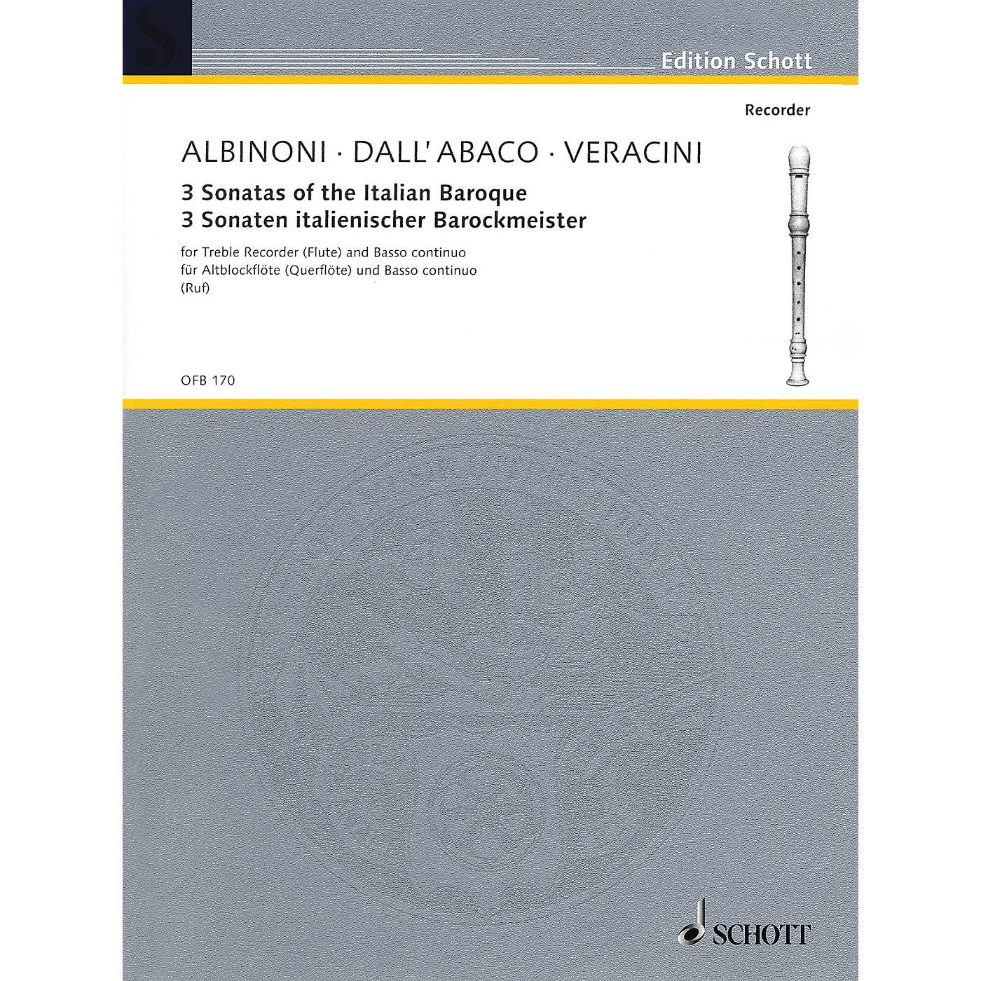 Schott 3 Sonatas of the Italian Baroque (for Treble Recorder (Flute) and Basso Continuo) Schott Series thumbnail