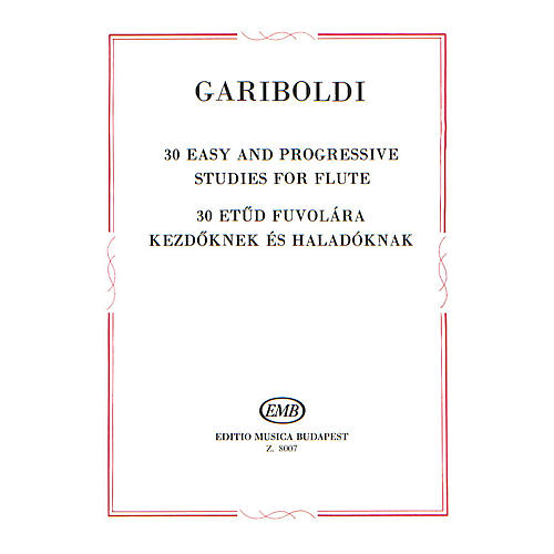 Editio Musica Budapest 30 Easy and Progressive Studies for Flute EMB Series by Giuseppe Gariboldi thumbnail
