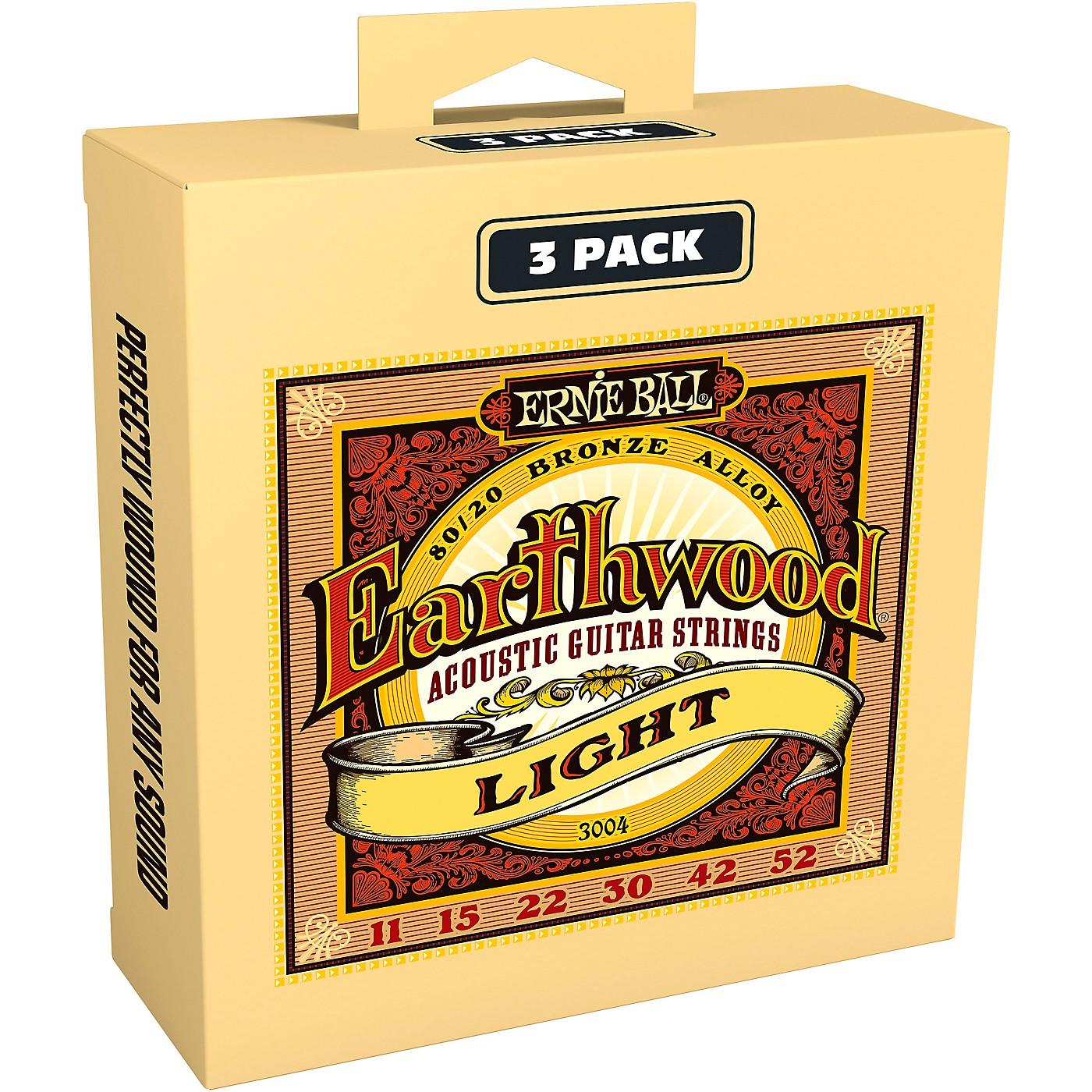 Ernie Ball 3004 Earthwood 80/20 Bronze Light Acoustic Guitar Strings 3-Pack thumbnail