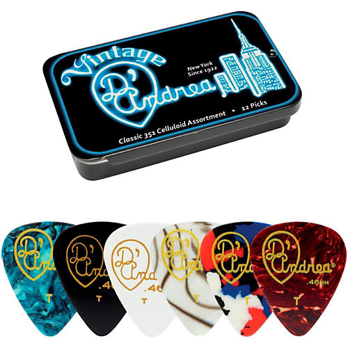 D'Andrea 351 Vintage Classic Celluloid Picks - Assorted Colors - 1 Dozen in Tin Container-thumbnail
