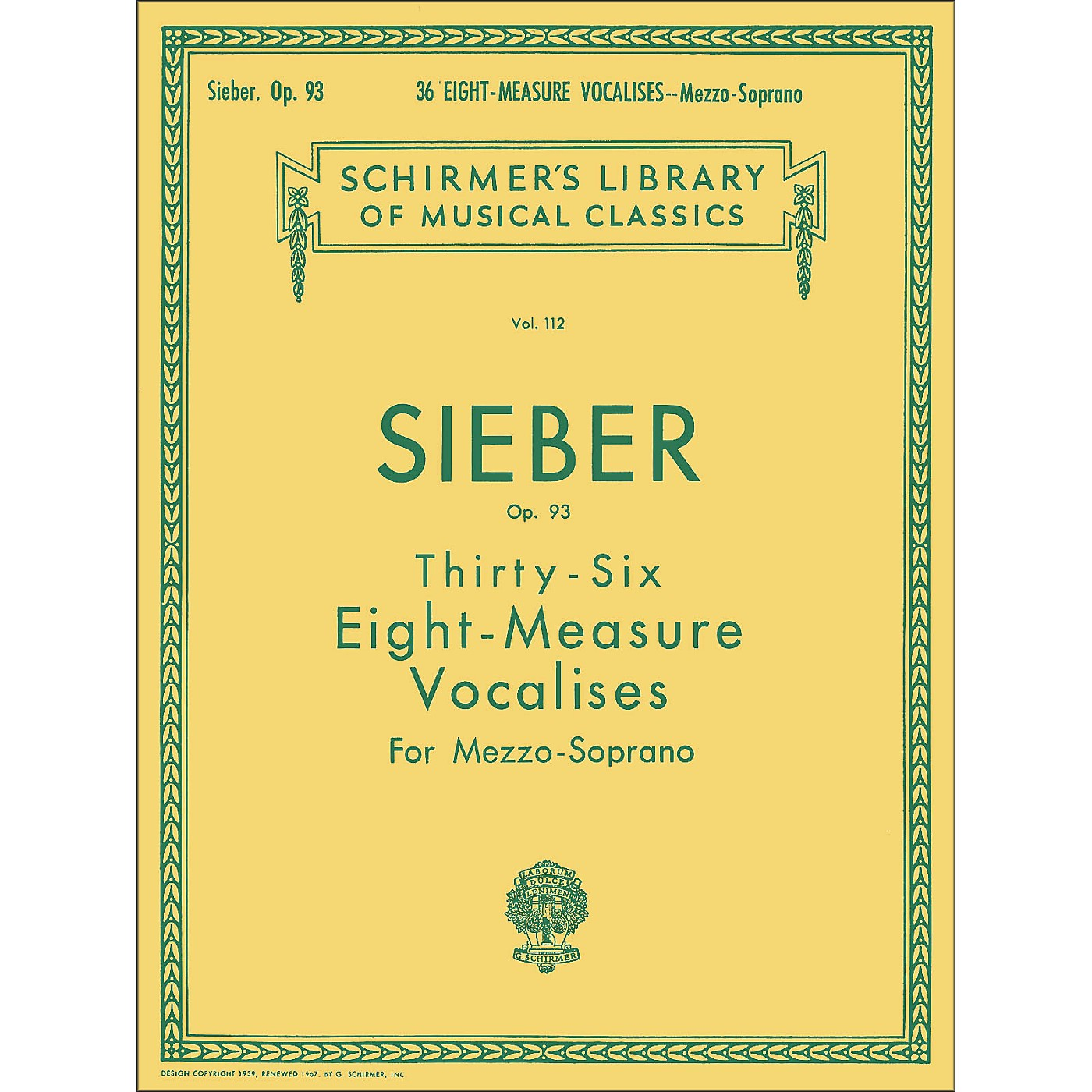 G. Schirmer 36 Eight Measure Vocalises, Op. 93 for Mezzo - Soprano by Sieber thumbnail