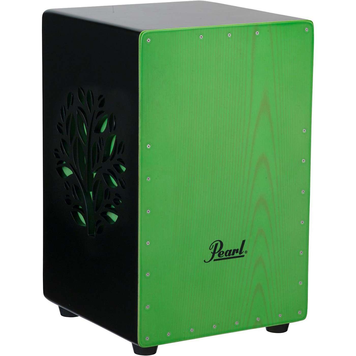 Pearl 3D Cajon with green faceplate and 3D tree thumbnail