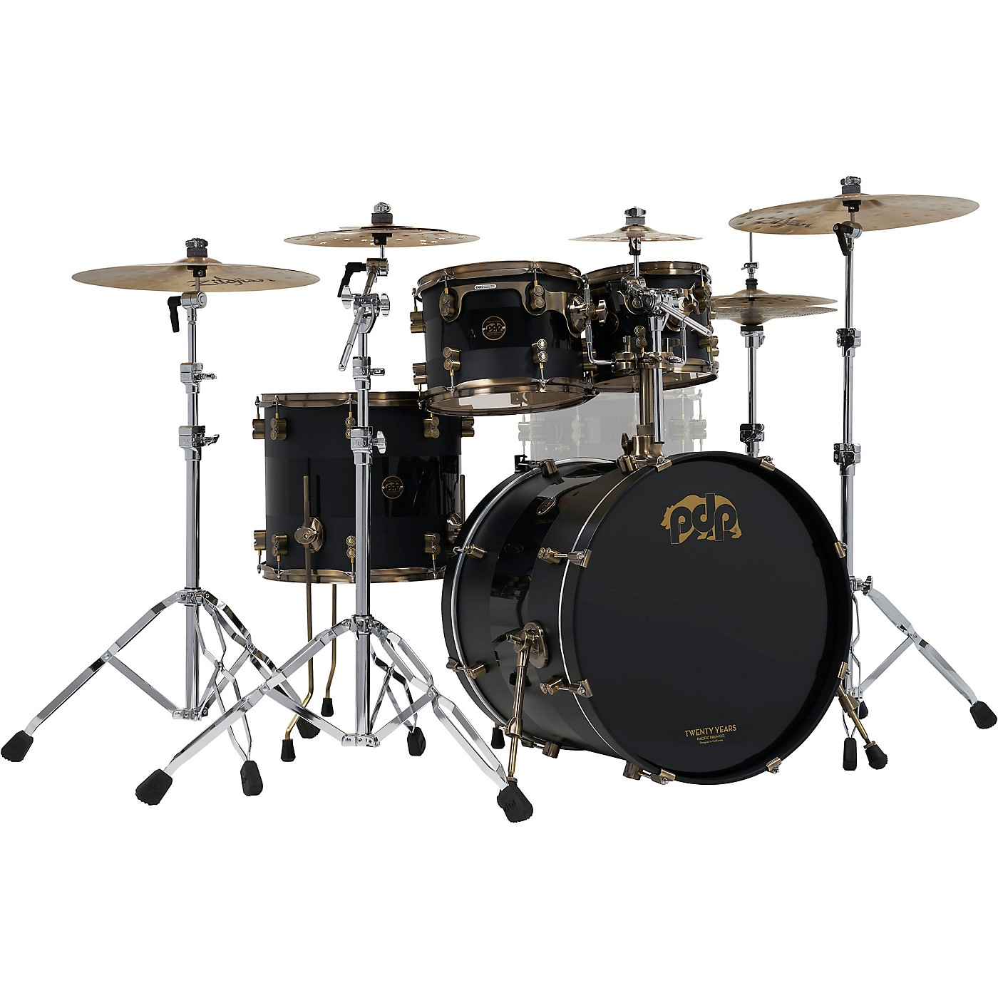 PDP by DW 4-Piece 20th Anniversary Shell Pack, Matte/Gloss Black w/Antique Bronze Hardware thumbnail