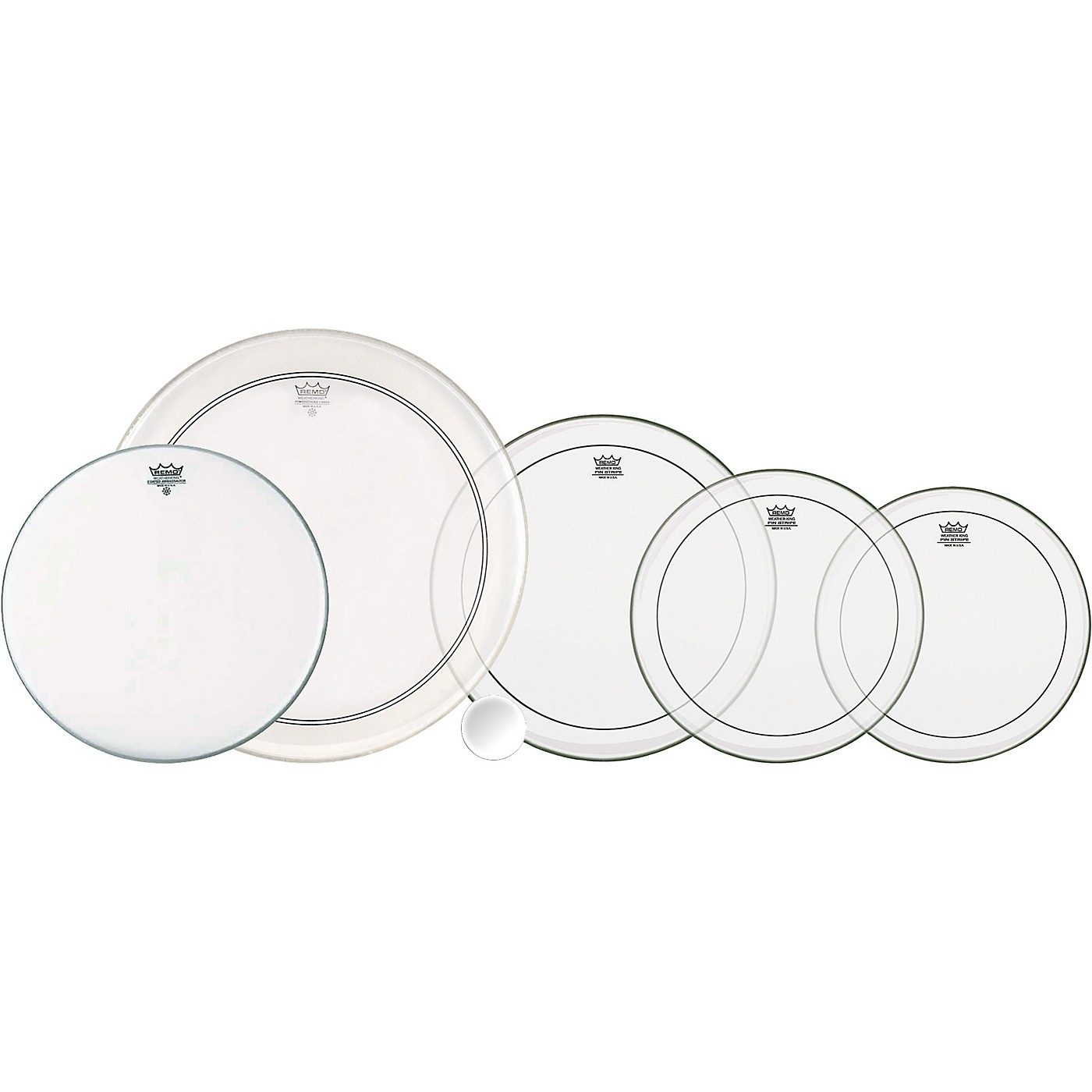 Remo 4-Piece Clear Pinstripe Pro Pack with Free 14 in. Coated Ambassador Snare Drum Head thumbnail