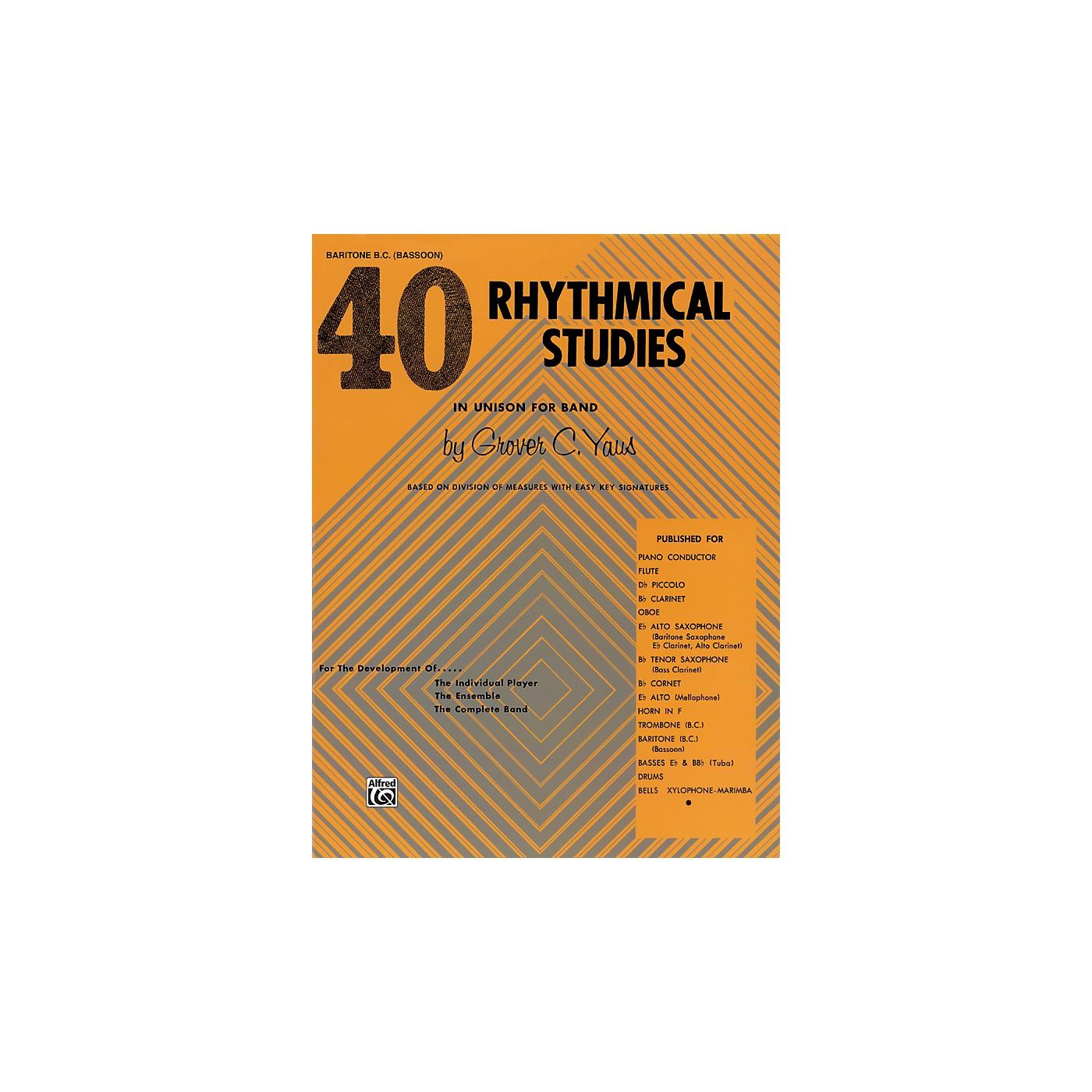 Alfred 40 Rhythmical Studies Baritone (B.C.) & Bassoon thumbnail