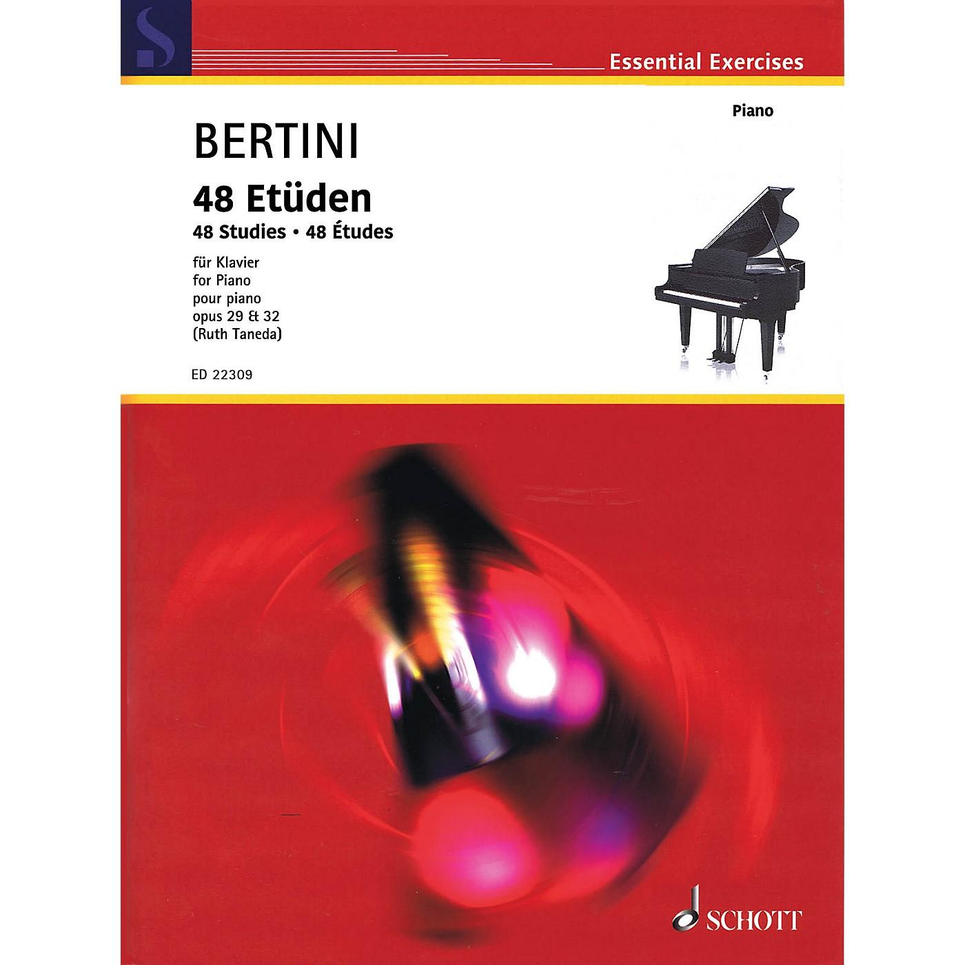 Schott 48 Studies (Op. 29 & 32) for Piano by Henri Bertini thumbnail
