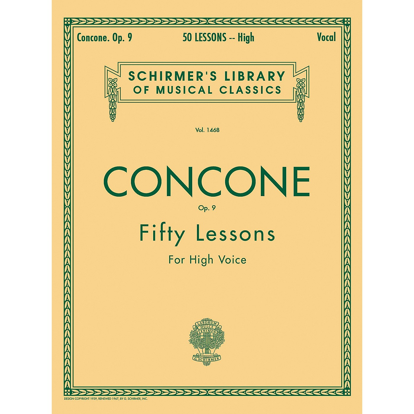 G. Schirmer 50 Lessons, Op. 9 by Concone for High Voice thumbnail