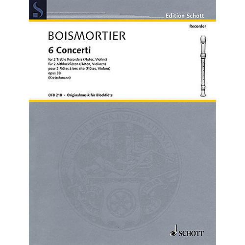 Schott 6 Concerti, Op. 38 Woodwind Ensemble Series Softcover  by Johann Bodin de Boismortier thumbnail