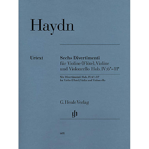 G. Henle Verlag 6 Divertimenti Hob.IV:6-11 (String Trio) Henle Music Folios Series Softcover Composed by Joseph Haydn thumbnail