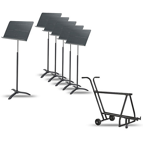 Proline 6-Pack Professional Orchestral Music Stand With Manhasset Music Stand Short Storage Cart (Holds 12-13) thumbnail