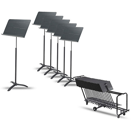 Proline 6-Pack Professional Orchestral Music Stand With Manhasset Storage Cart (Holds 25) thumbnail
