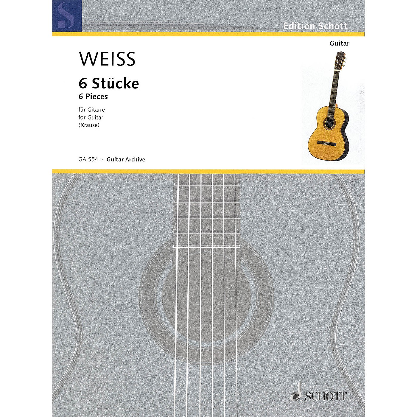 Schott 6 Pieces (Guitar) Schott Series Softcover Composed by Silvius Leopold Weiss Edited by Ansgar Krause thumbnail