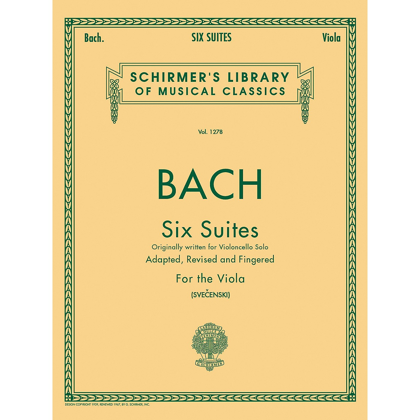 G. Schirmer 6 Suites for Unaccompanied Viola Originally for Violoncello By Bach thumbnail