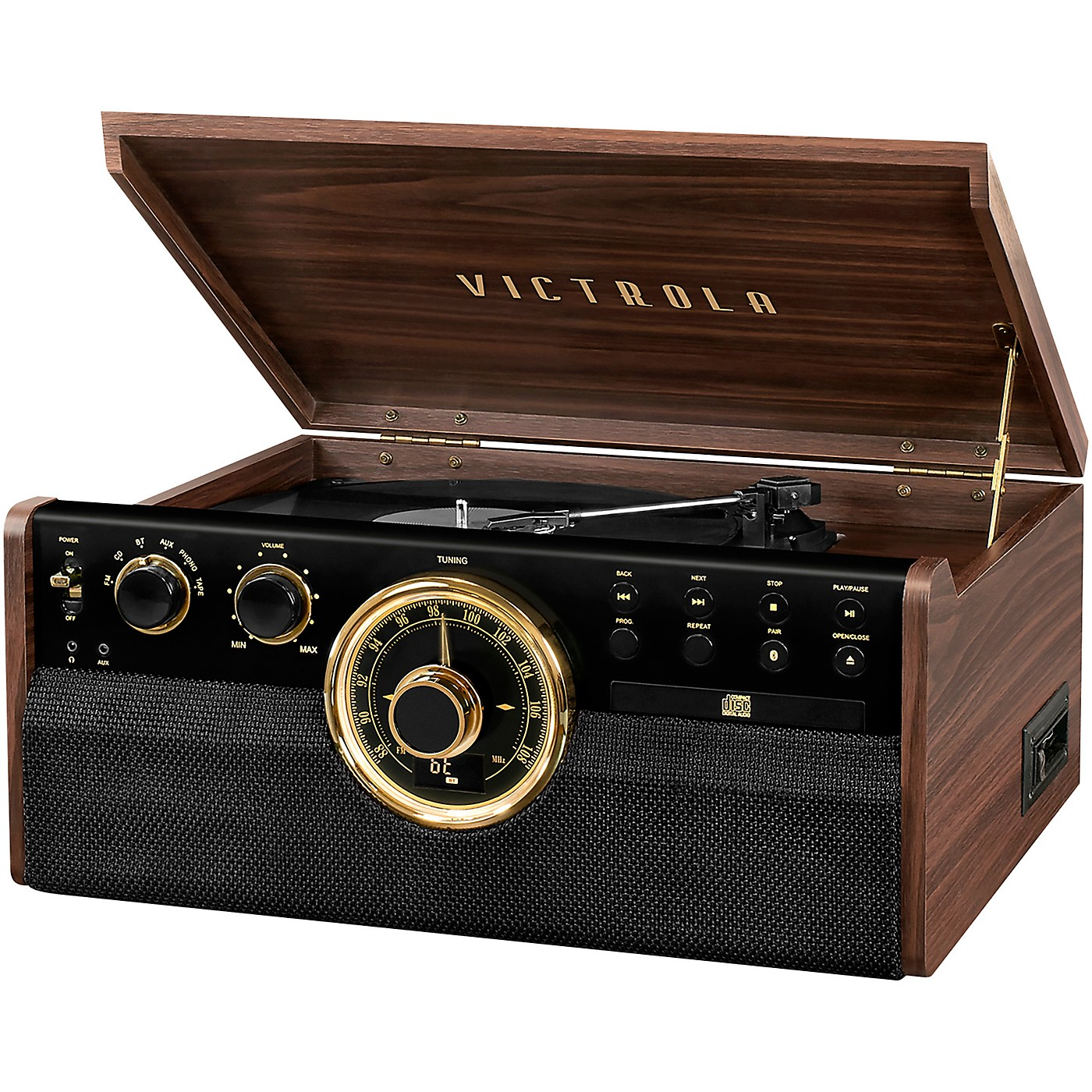Victrola 6-in-1 Wood Empire Mid Century Modern Bluetooth Record Player with 3-Speed Turntable, CD, Cassette Player and Radio thumbnail