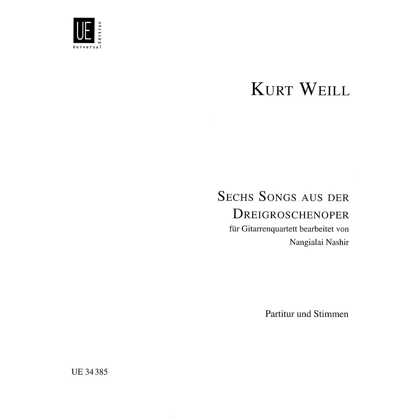 Hal Leonard 6 (six) Songs From Threepenny Opera For Guitar Quartet Score And Parts Guitar Series thumbnail